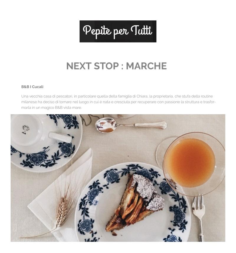 i Cucali Bed and Breakfast fronte mare / Porto Recanati / storie / Pepite per tutti